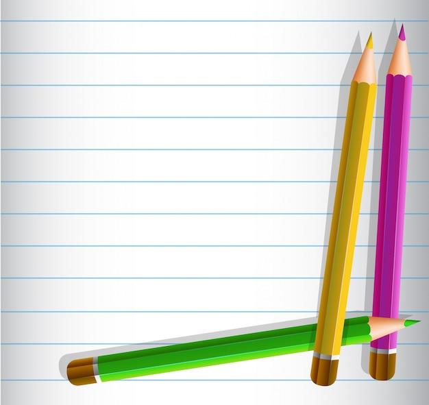 Линейный шаблон с тремя цветными карандашами