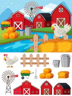 昼間の農場の要素とシーン