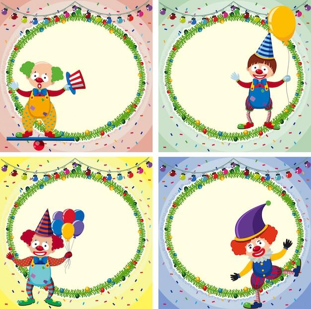 Четыре пограничных шаблона со счастливыми клоунами и огнями
