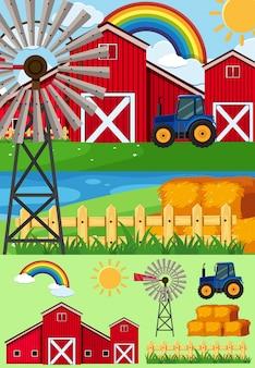 風車と乾草の農場風景