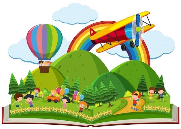 Книга детей, играющих в парке