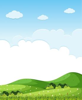丘の上に緑の草がある背景のシーン