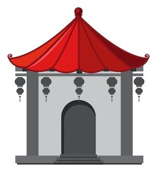 赤い屋根と中国のスタイルで建物
