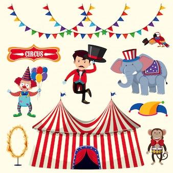 Тренер и многие цирковые животные на белом фоне