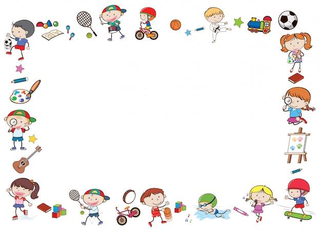 Шаблон границы с детьми, играющими в спорт