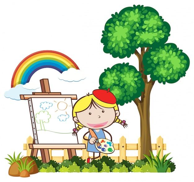 美しい日の子供の絵