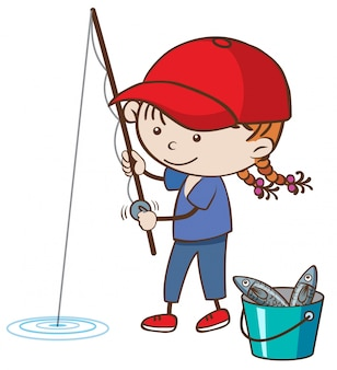 白い背景に少女釣り