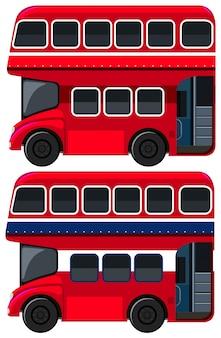 白い背景の二階建てバス