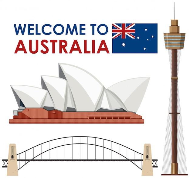 白い背景にオーストラリアのランドマーク