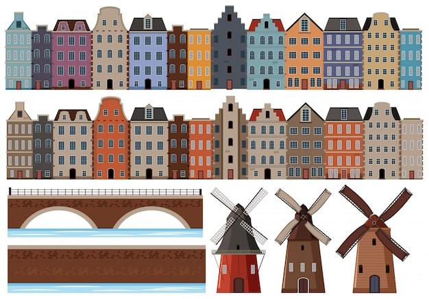 オランダ建築のセット