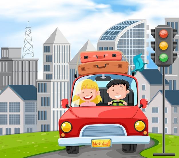 Пара путешествует по дороге