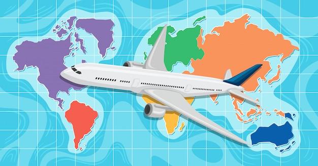 Самолет перед глобальной картой