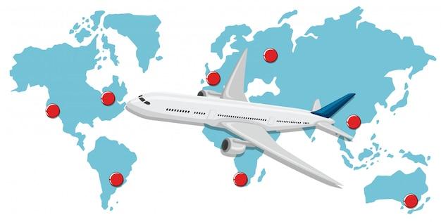 Коммерческие воздушные суда на карте мира