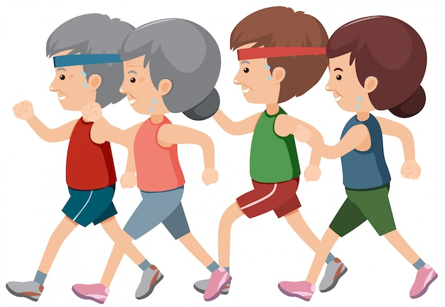 ジョギングする高齢者のグループ
