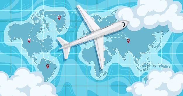 Самолет над картой