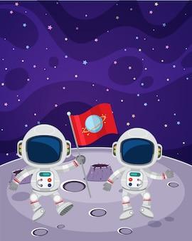 宇宙飛行士が月を歩く