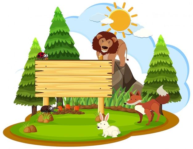 野生動物と木製記号