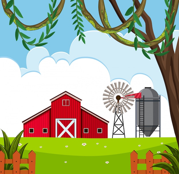 農村の納屋の風景