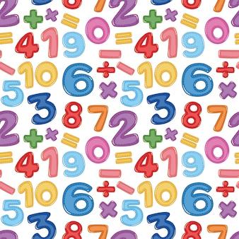 シームレスな数字と数学のアイコン