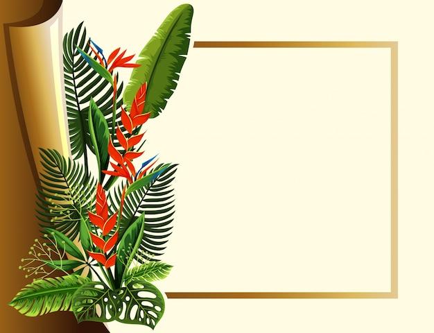 赤い花と緑の葉のゴールデンフレーム
