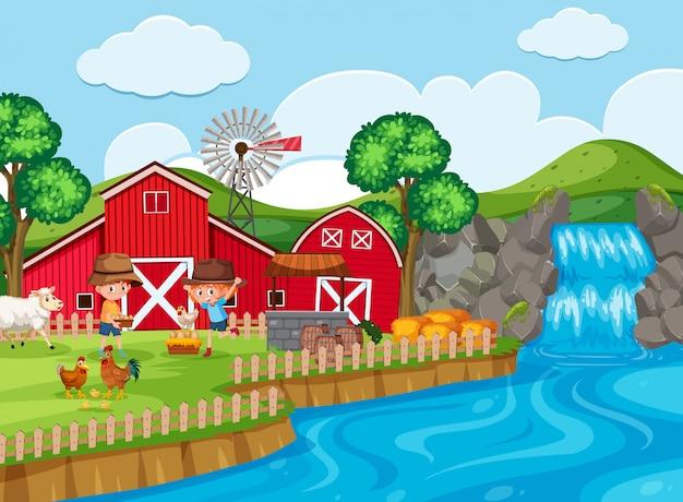 滝のある農場風景
