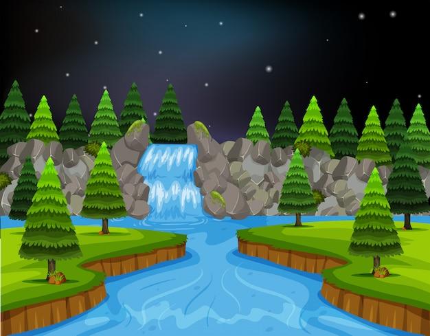 夜の川風景