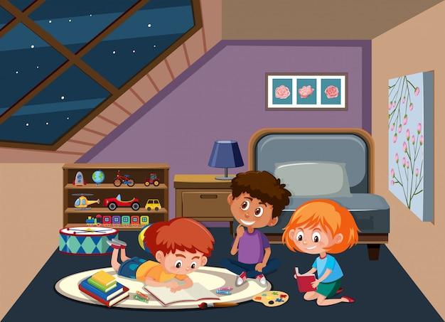 寝室で勉強している子供たち