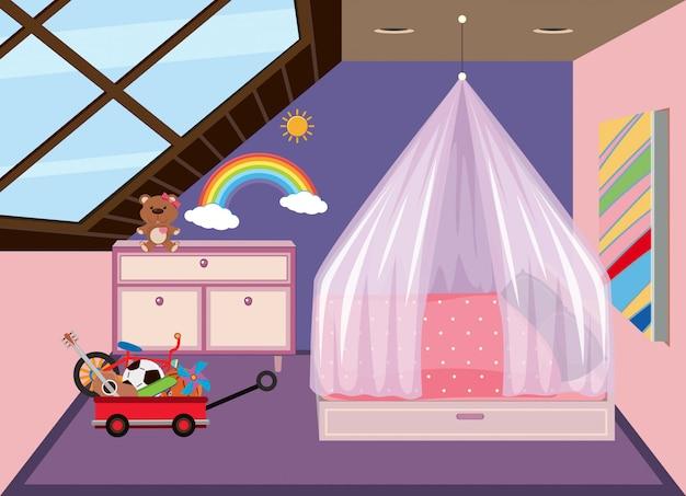 屋根裏部屋のかわいい寝室