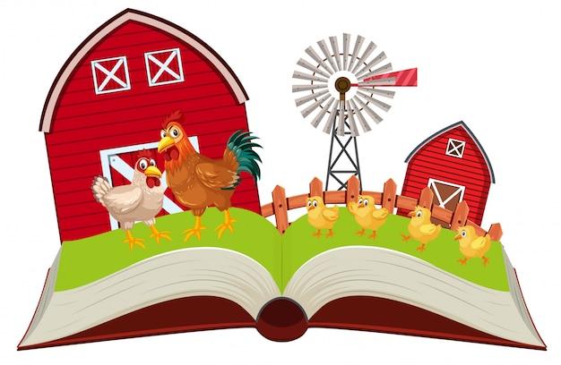 鶏の農場のポップアップブック