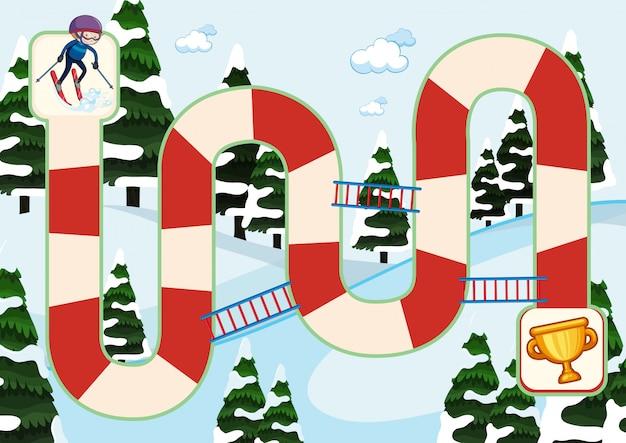 スキーボードゲームの冬のテーマ