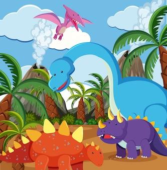 自然の平らな恐竜