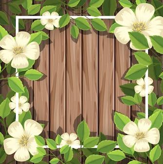 木の板の上に白い花