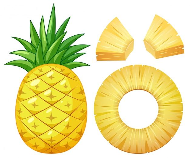 白い背景にパイナップル