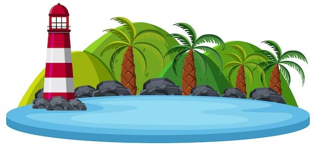 白い背景に孤立した自然の島