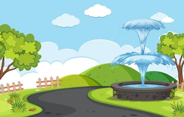 道路の背景にある噴水