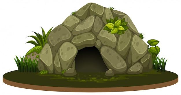 白い背景に石窟