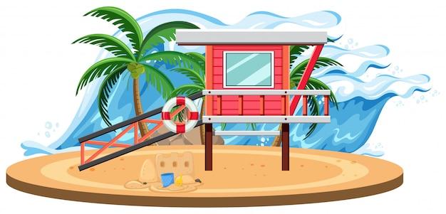 孤立した夏のビーチテンプレート
