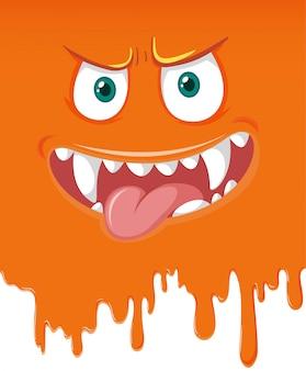 オレンジ色のモンスターの顔の滴り