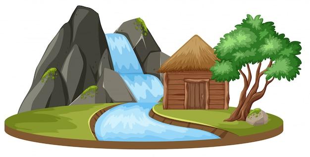 小屋と滝のある島