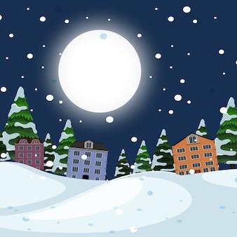 夜の冬の町の風景