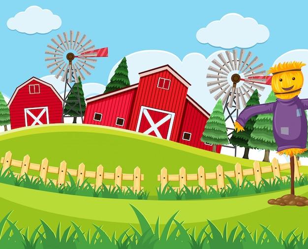 赤い納屋の農場のシーン