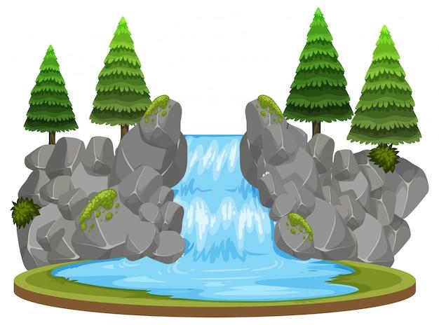 森の滝の背景のシーン