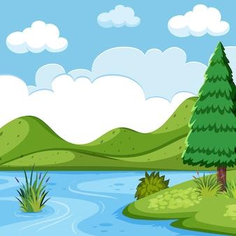 美しい湖の風景の風景