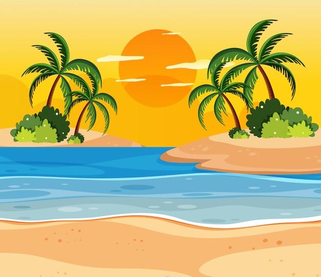 熱帯諸島の日没