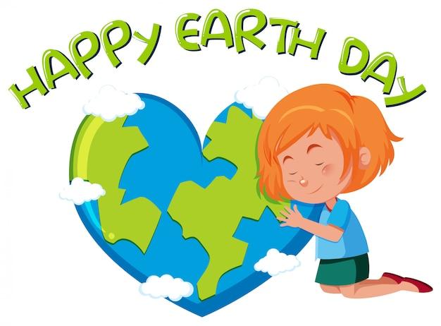 女の子と幸せな地球の日