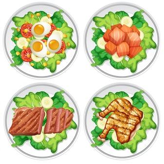異なるサラダのセット