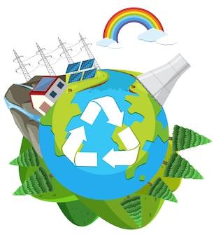 自然の緑のエンジニアのロゴ