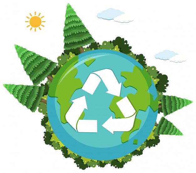 Логотип переработки на глобусе природы