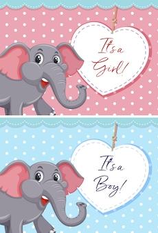 Слон на милой карточке шаблона