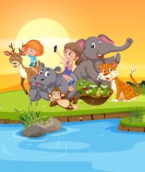 野生動物と遊ぶ女の子